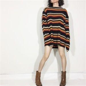 Vintage Linen Rainbow Oversized Sweater Dress